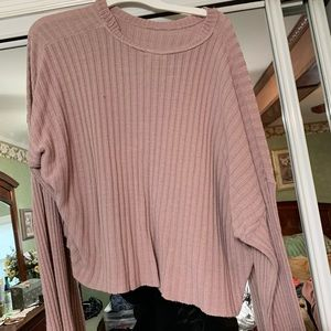 Pink holey cropped sweater
